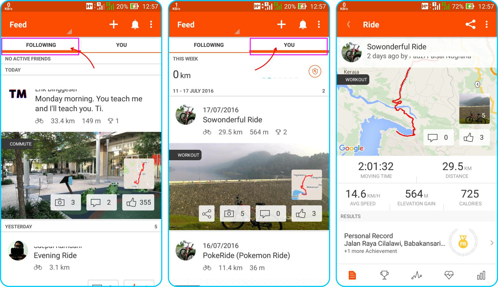 Strava Running and Cycling GPS - Tampilan Halaman Muka Activity Feed
