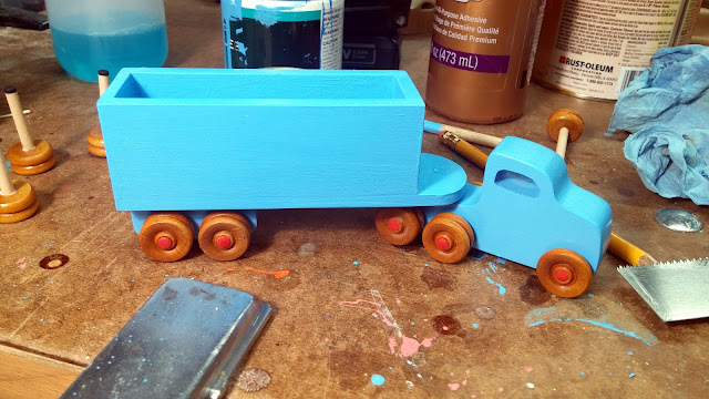 Blue Wooden Toy Play Pal Trailer Truck With Box Trailer