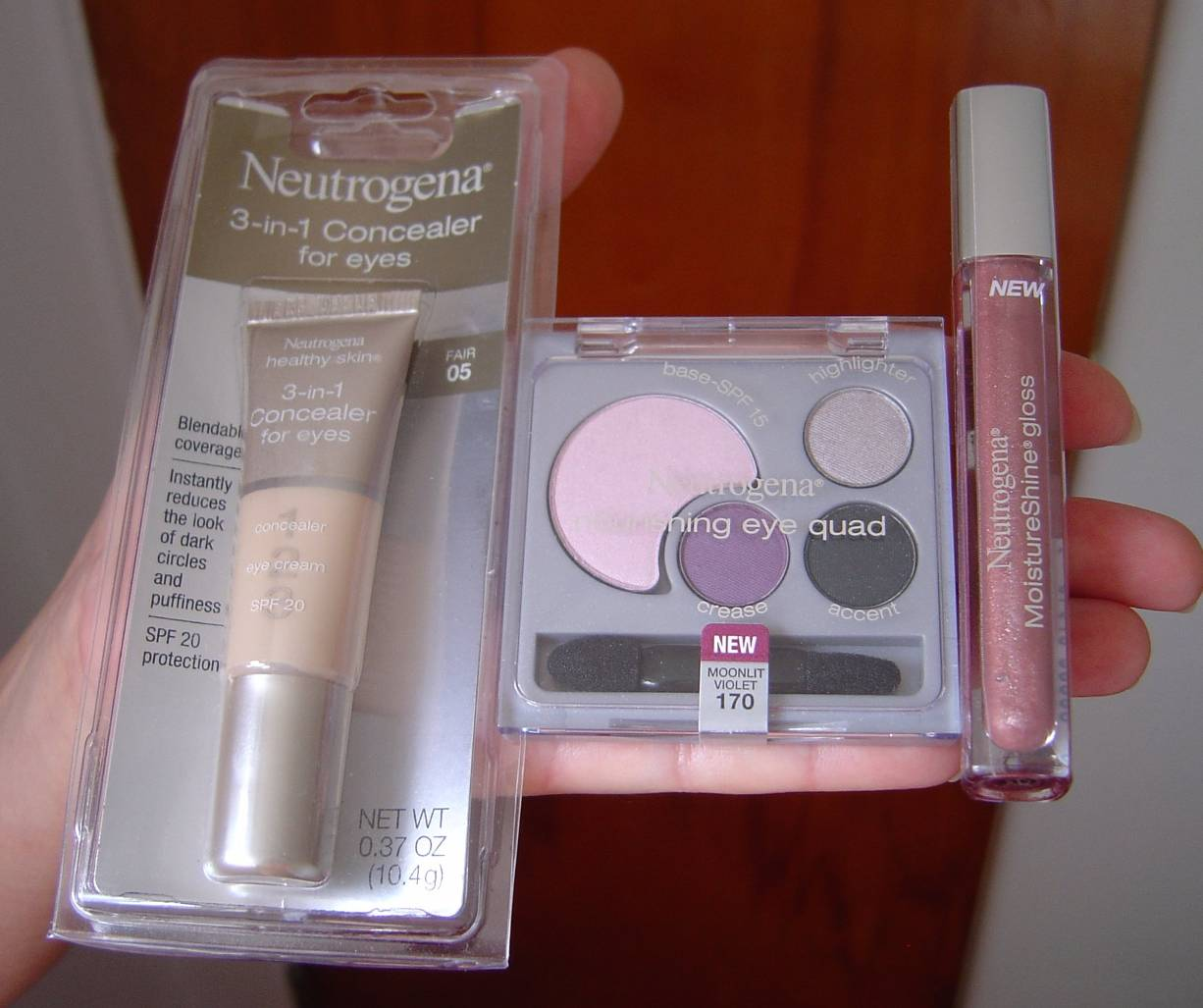 Neutrogena Cosmetics eye makeup assortment and lip gloss
