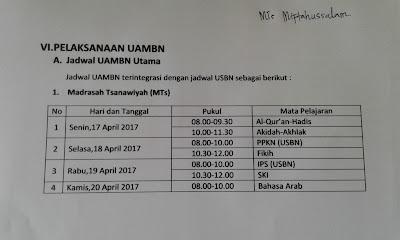Jadwal Pelaksanaan UAMBN/USBN 2017