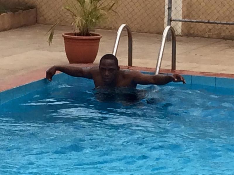 Sports minister Solomon Dalung swims away his worries