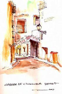 Carrer Vilanova,calle Villanueva, Beceite,Beseit, Ramón Curto, dibujo