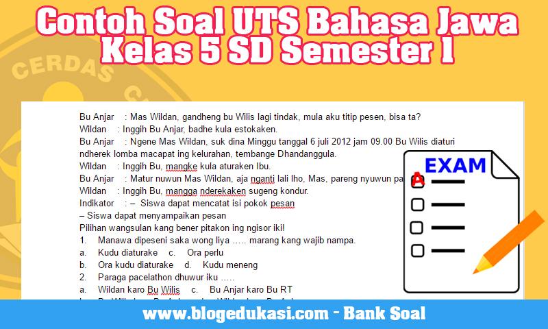 Contoh Soal UTS Bahasa Jawa Kelas 5 SD Semester 1
