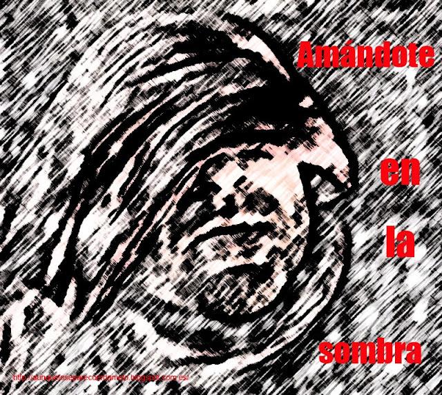 ilustracion titulada condenado con la frase amandote en la sombra
