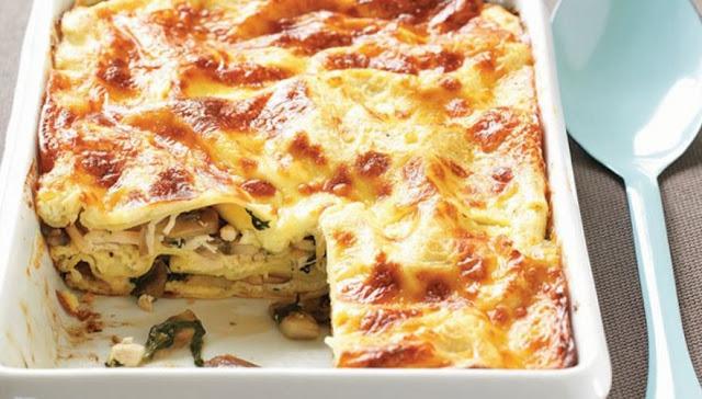 Chicken, Spinach, and Mushroom Lasagna