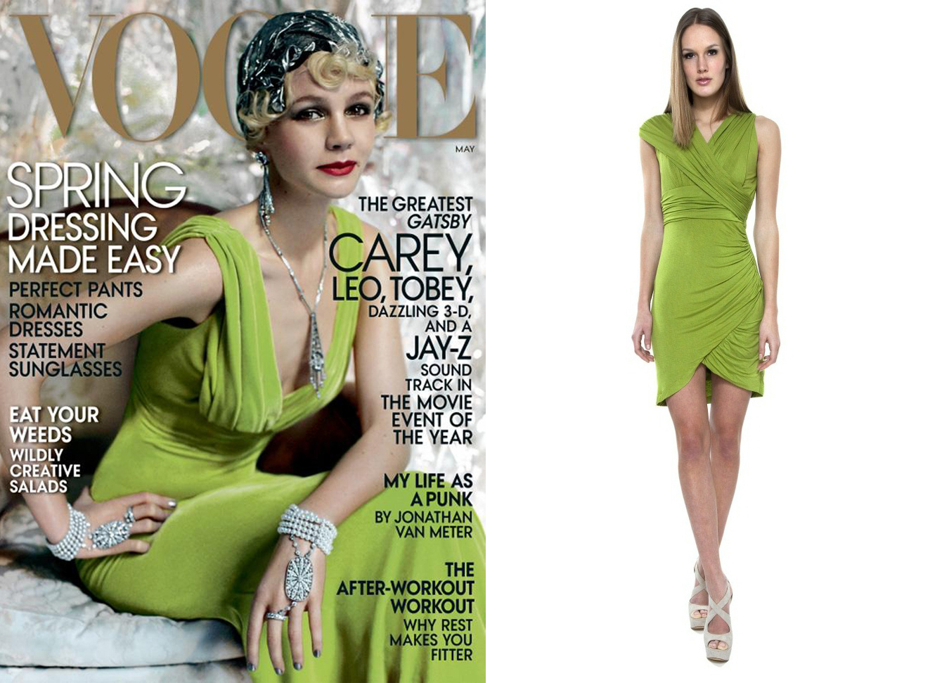 7ce9d12ccb6c Go Green!---Yes, kids it's all about Green--particularly this shade of  Chartreuse. On the left is actress Carey Mulligan of Baz Luhrmann's  forthcoming ...