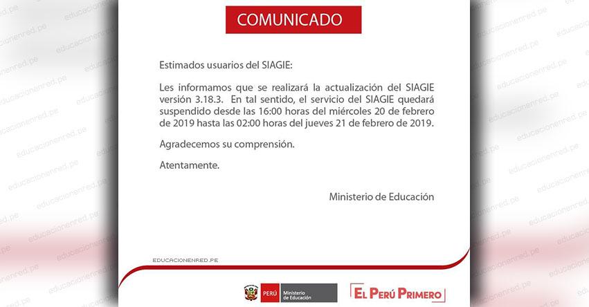 SIAGIE COMUNICADO: Servicio Suspendido el Miércoles 20 y Jueves 21 Febrero - MINEDU - www.siagie.minedu.gob.pe