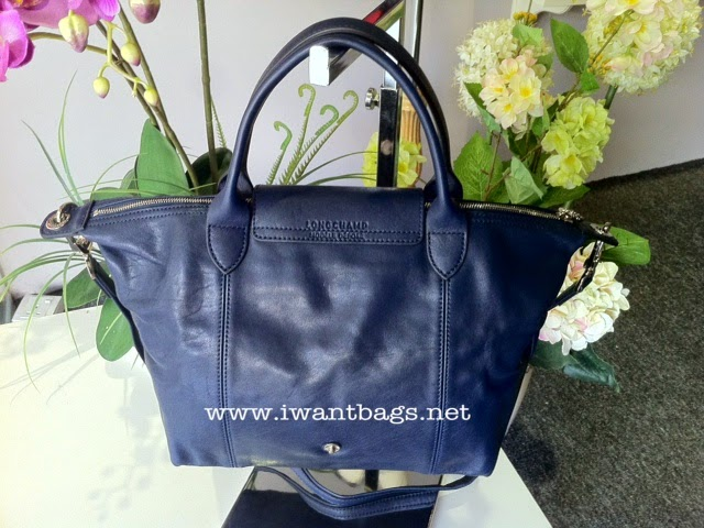 I Want Bags backup  Longchamp Le Pliage Cuir Short Handle Small- Navy 2e918b858ce14
