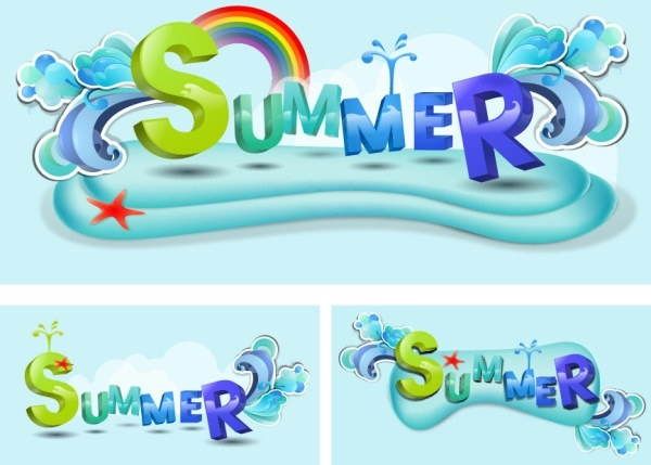 Summer theme font design vector Free vector