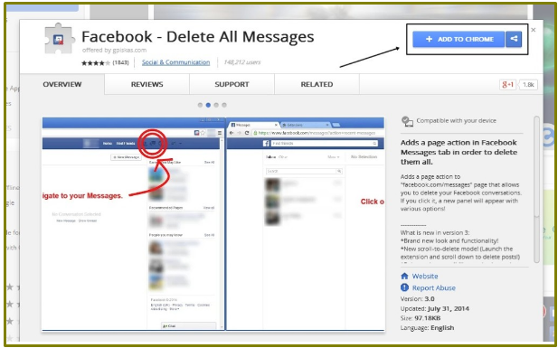 Facebook delete all messages that bad penguin on next click on that extension and hit include to chrome button this will included a facebook delete all messages extension in your chrome browser ccuart Choice Image