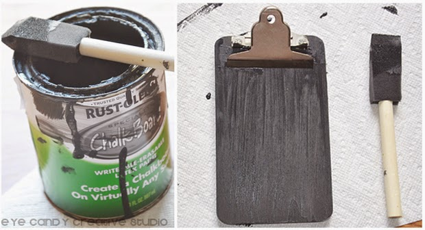 chalkboard paint, teacher gift idea, paintbrush, DIY craft, chalkboard clipboard