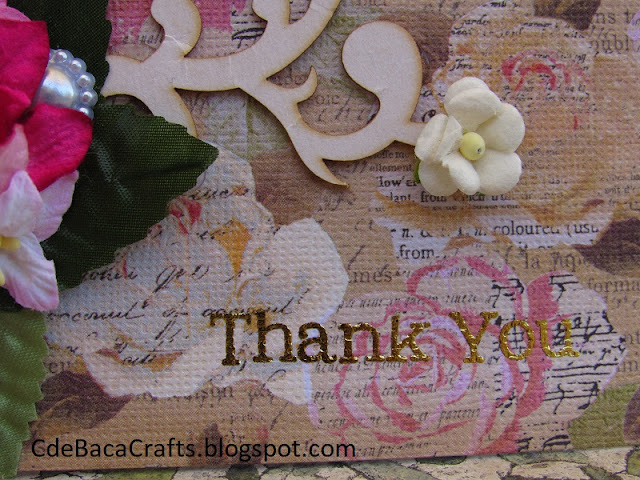 Handmade Thank You Card by CdeBaca Crafts Blog.