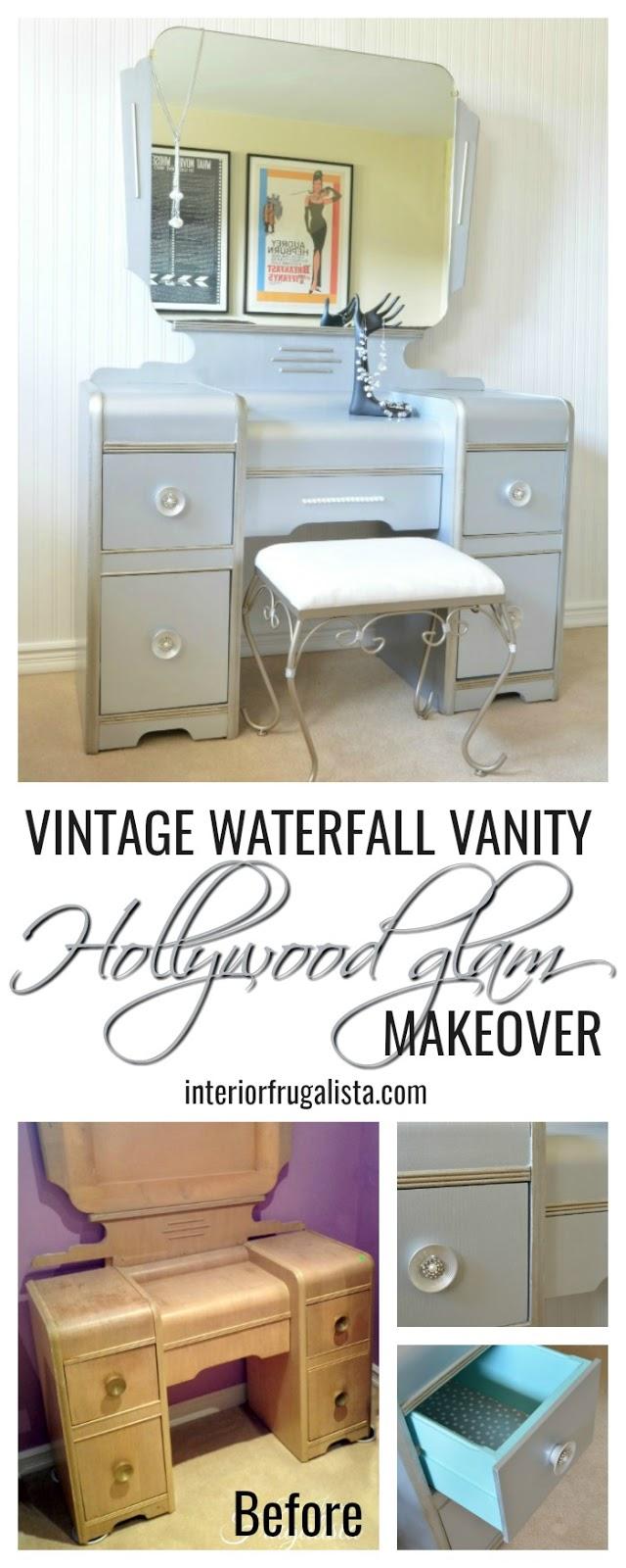 Hollywood Glam Vintage Waterfall Vanity Makeover