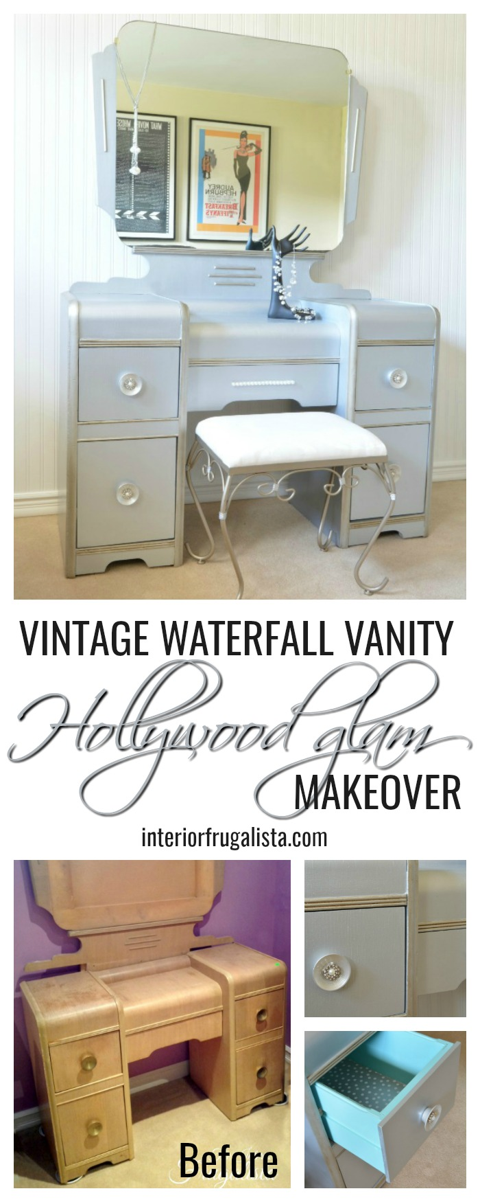 How to give a vintage waterfall vanity a drab to fab hollywood glam makeover with metallic paint, wrapping paper, and pearl embellished knobs. #vintagevanity #artdecovanity #waterfallvanity #hollywoodglamvanity