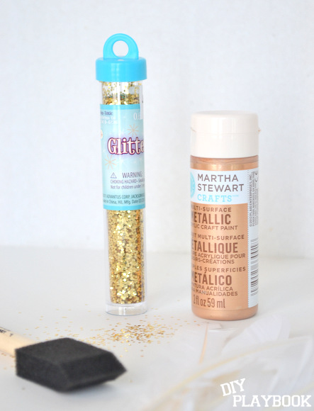 Gold glitter and metallic copper paint are what you need to make these glitter feathers