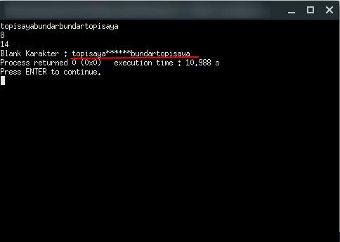 Program C Membuat Blank Karakter Tertentu pada Kalimat   Program C