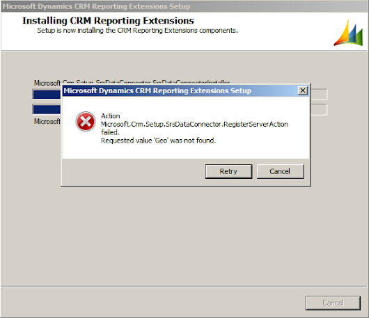 Microsoft Dynamics CRM Reporting Extensions Error - Requested value 'Geo' was not found