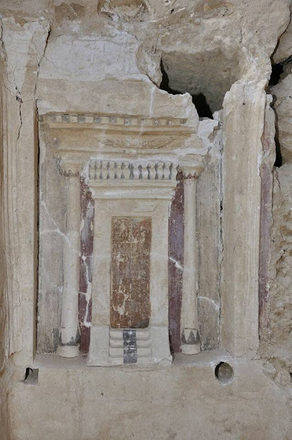 Graeco-Roman tombstone with painted false door discovered in Alexandria