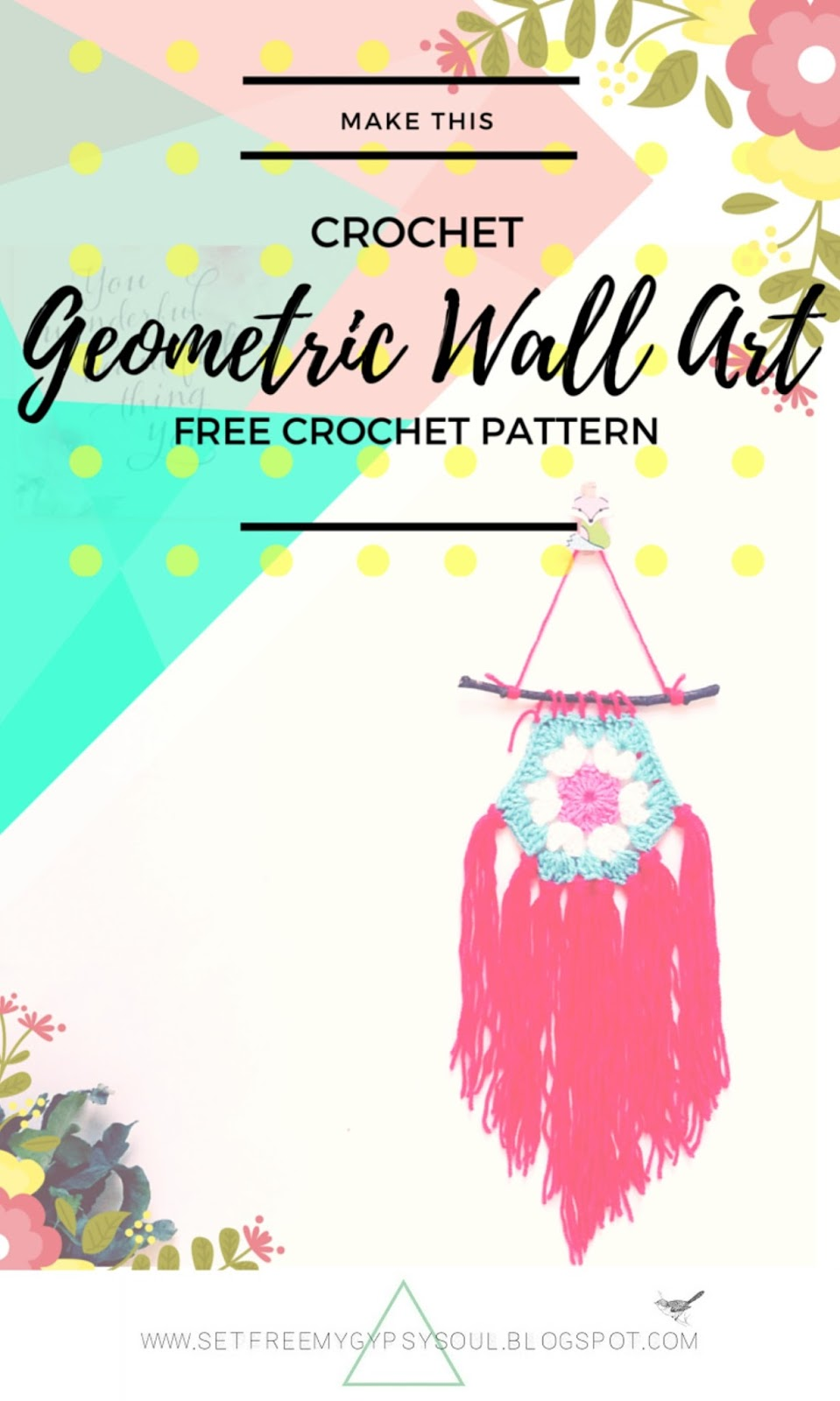 free crochet pattern boho gypsy gipsy art home decor design diy tutorial