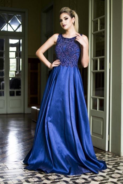 Vestido de festa azul royal para madrinha ou formanda