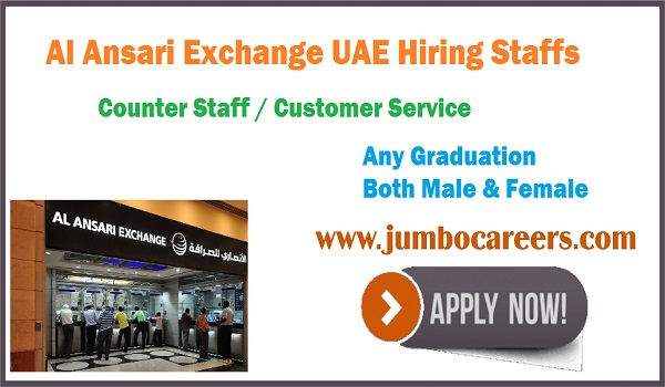 Banking jobs for Indians in Al Ansari Exchange UAE 2020, Fresh jobs in UAE,