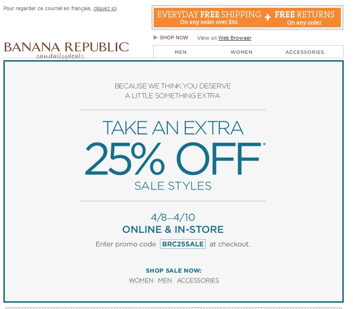 Find new Banana Republic Canada promo codes at Canada's coupon hunting community, all valid Banana Republic Canada coupons and discounts for Up to 50% off.