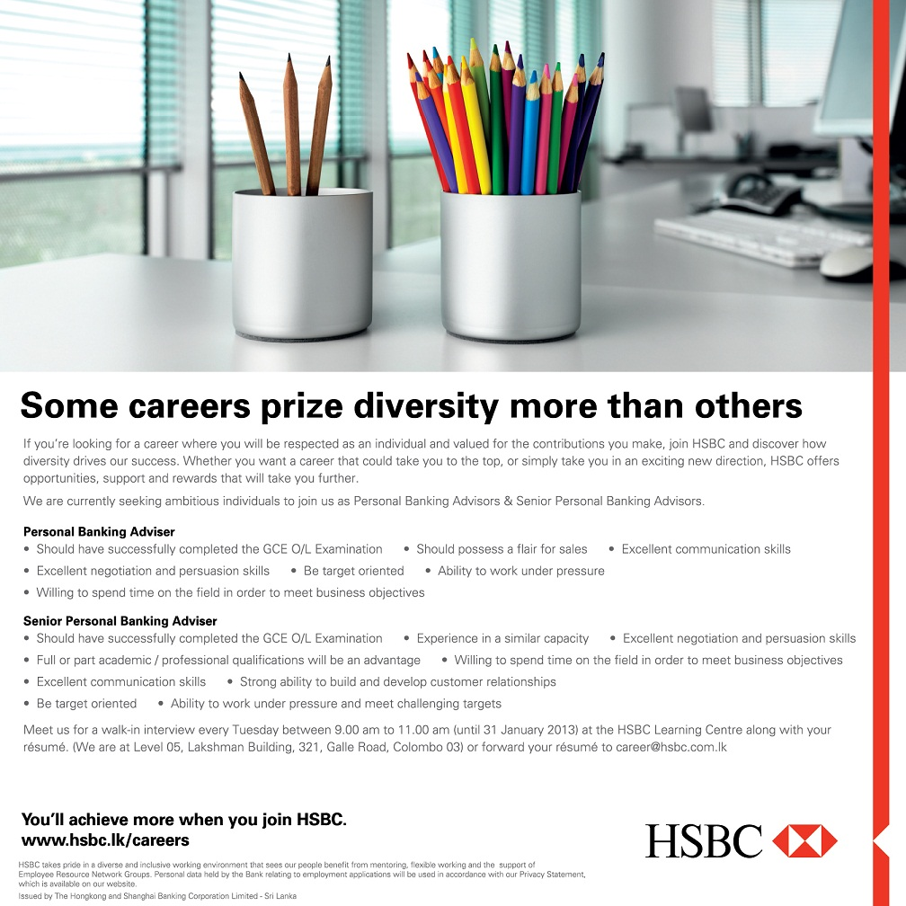 Personal Banking Adviser - HSBC - Sri Lanka Vacancies - Top Rated