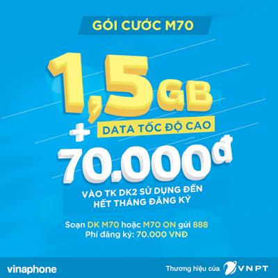 Đăng ký gói 3G M70 Vinaphone, nhận ngay ưu đãi kép