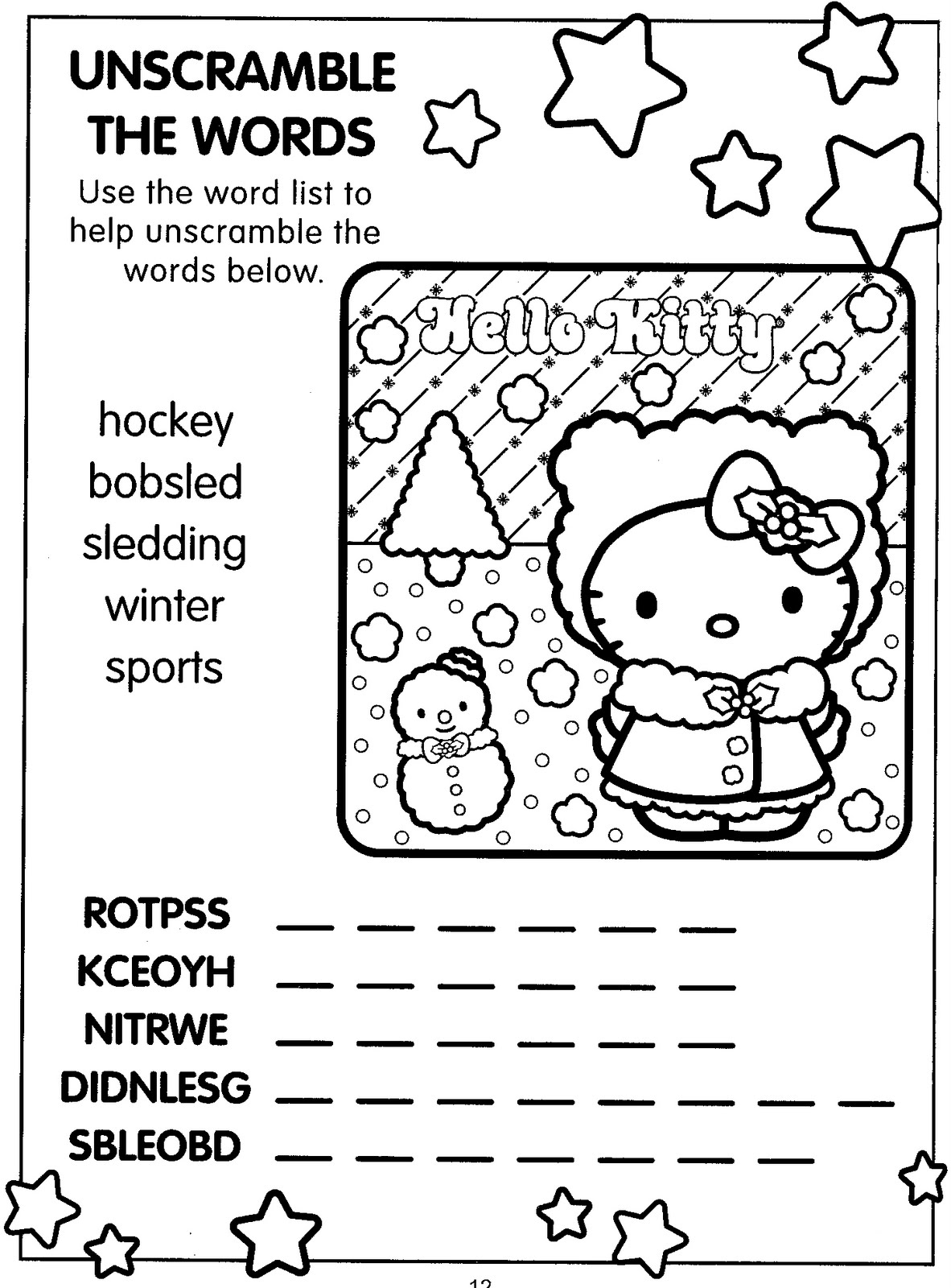 Hello Kitty Christmas Coloring Pages 2