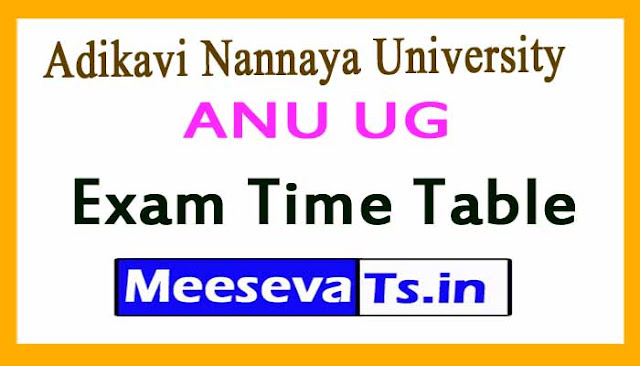 Adikavi Nannaya University UG Exam Time TABLE