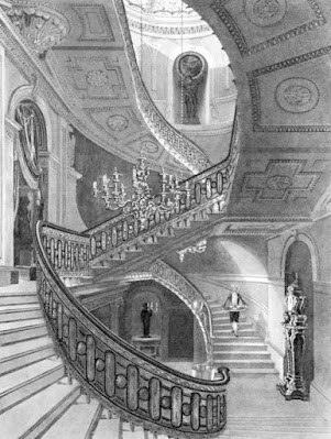 Grand Staircase, Carlton House, from The History  of the Royal  Residences by WH Pyne (1819)
