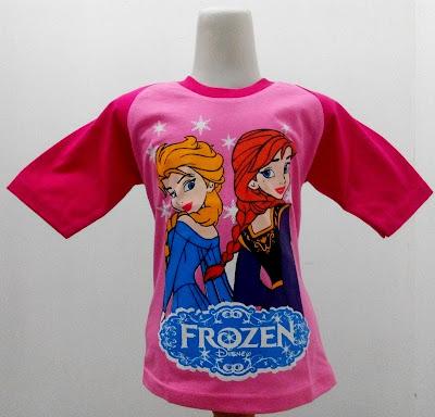 Kaos Raglan Anak Karakter Frozen Elsa Ana Pink Muda 3