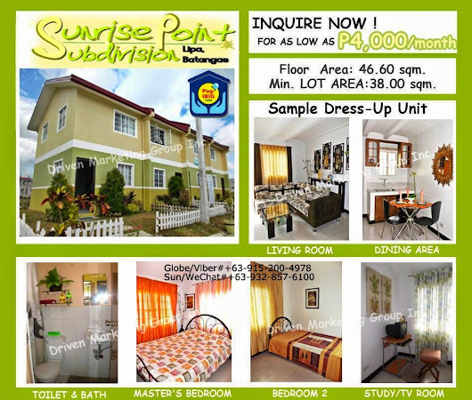 MURANG PABAHAY, CHEAP RENT TO OWN HOUSE & LOT, AS LOW AS 4K MONTHLY, LIPA CITY, SUNRISE POINT SUBDIVISION!