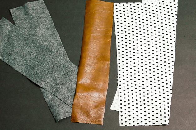 Cut fabric for DIY felt and leather clutch