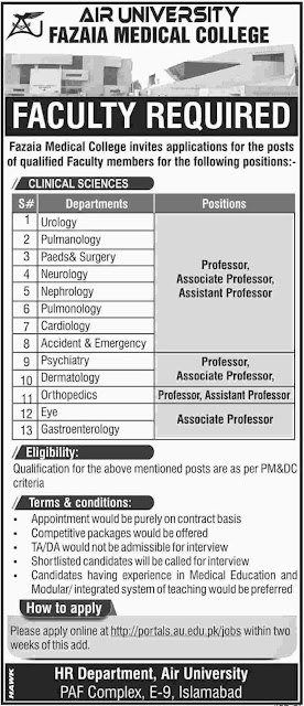 Fazaia Medical College Jobs 2019 For Faculty Members Air University Islamabad