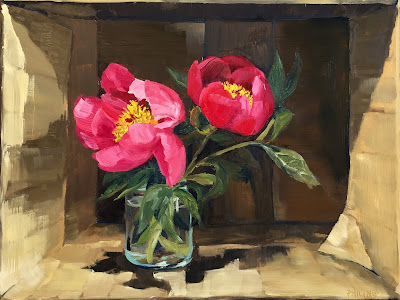 """Peonies in a cardboard box"" Original alla prima oil painting on panel 30x40cm by Philine van der Vegte"