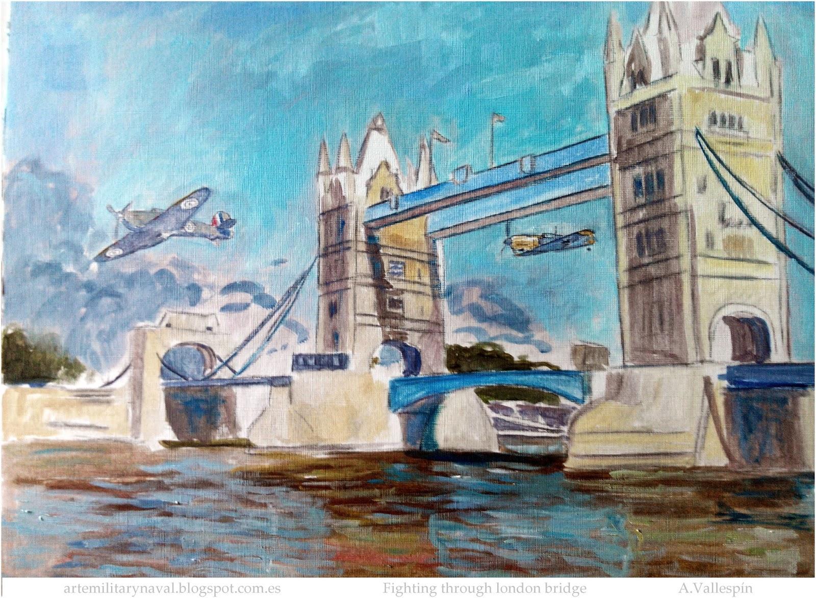 Pintura de Marseille y Alexander Hess en Combate a través del Puente de Londres