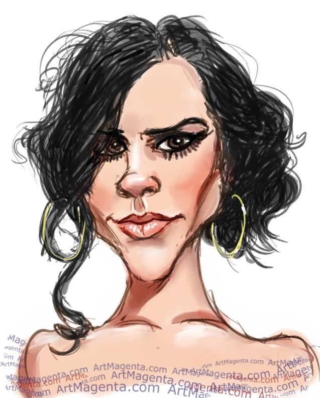 Victoria Beckham caricature cartoon. Portrait drawing by caricaturist Artmagenta