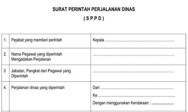 Surat Perintah Perjalanan Dinas (SPPD) Versi Dinas Pendidikan