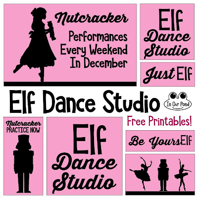Nutcracker Dance Studio Doll Room for Elves and Barbies // Free printables // In Our Pond