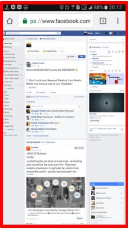 Facebook Desktop Site on Mobile Phone