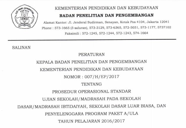 POS Ujian Sekolah SD/MI Tahun 2017 Final Pdf