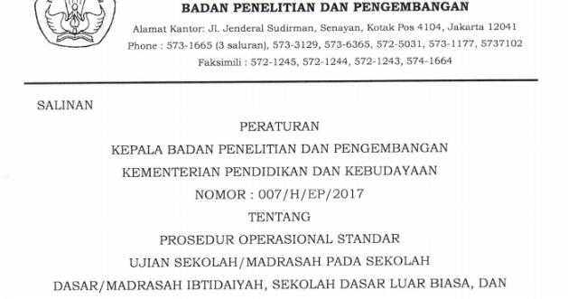 Pos Ujian Sekolah Sd Mi Tahun 2017 Final Pdf Kurikulum 2013 Revisi
