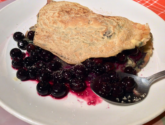 Dairy free low fat pancake with healthy blueberries