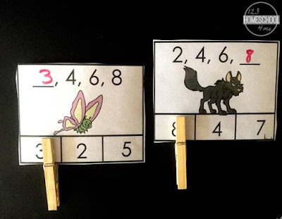 skip counting by 2s and 3s clip cards