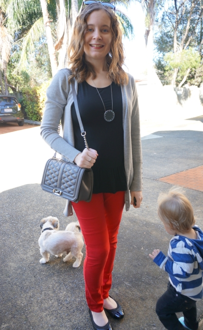 Away From Blue | Black peplum tank red skinny jeans ballet flats RM Love bag grey cardi