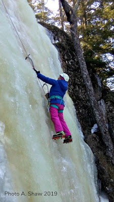 pink pants, ice climbing, moss slab, cragging, stonehouse pond