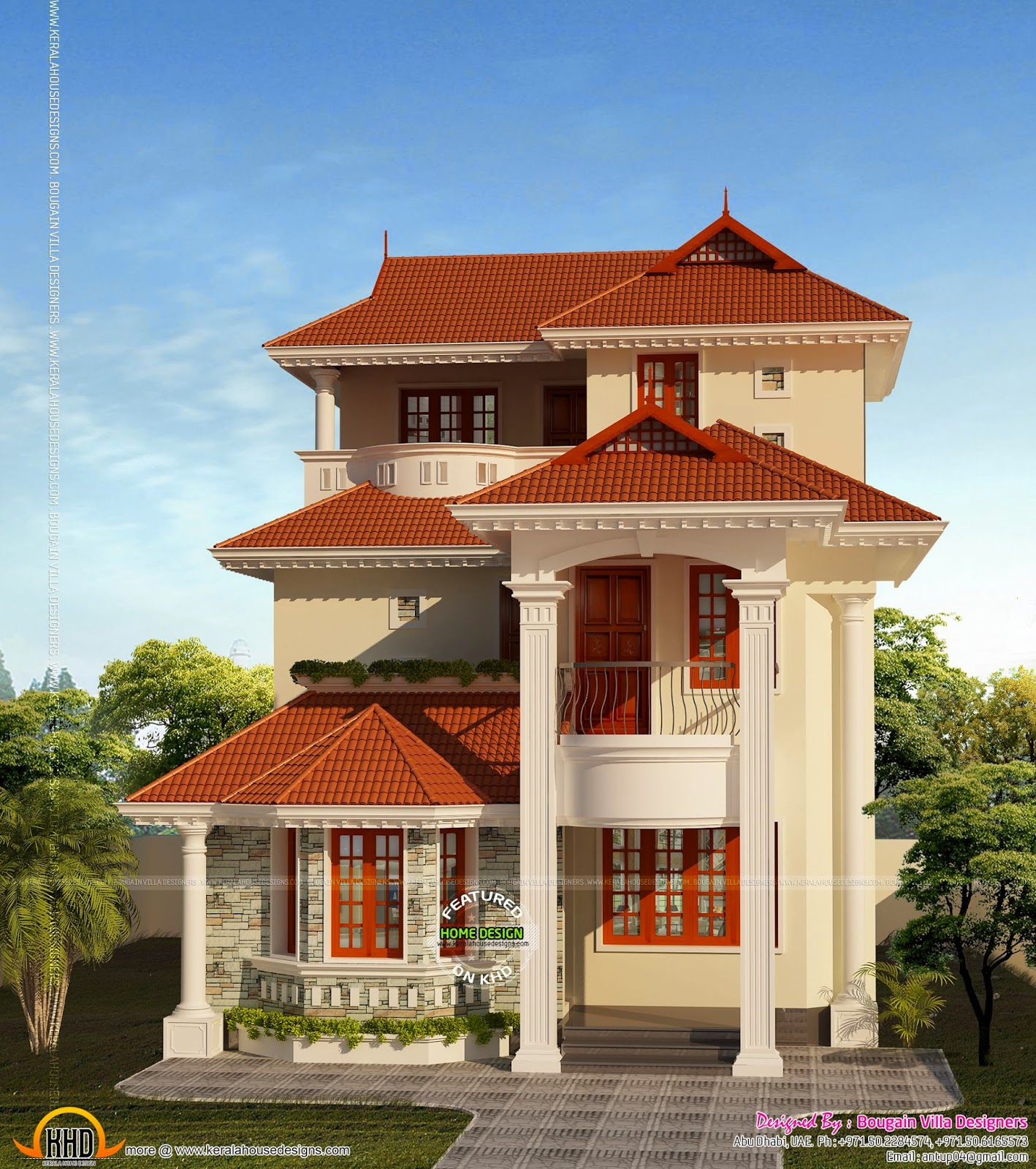 Three Floor House Small Plot House Plan Kerala Home Design And Floor Plans
