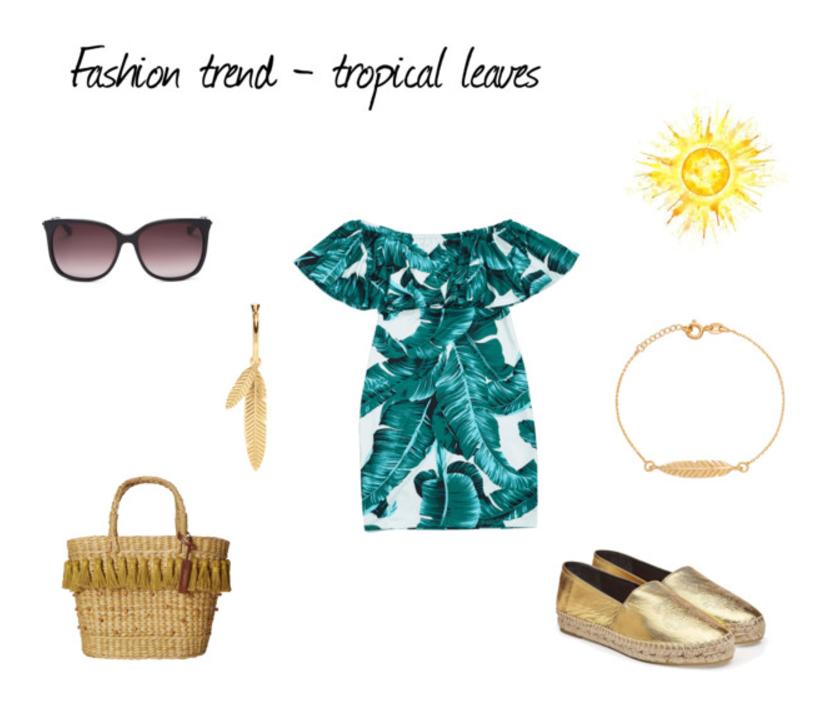 Trend modowy - tropikalne liście, sukienka w liście, złote espadryle, kolczyki Lilou liście, stylizacja, moda