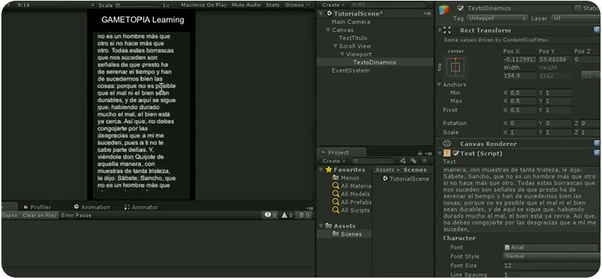 Crear un Scroll View con texto dinámico en Unity